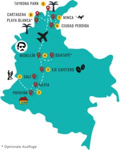 Gruppenreisen für Alleinreisende & Erlebnisreisen I Kolumbien Reiseroute Kolumbien
