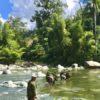 Einheimischer Kubaner überquert den Fluss mit seinen mit Bananen bepackten Maultieren in Baracoa auf Kuba - Gruppenreisen für Alleinreisende & Erlebnisreisen | QUERIDO MUNDO