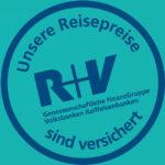 R+V Versicherung - Logo: Der Reisepreis ist versichert (Insolvenzversicherung) - Gruppenreisen für Alleinreisende & Erlebnisreisen | QUERIDO MUNDO